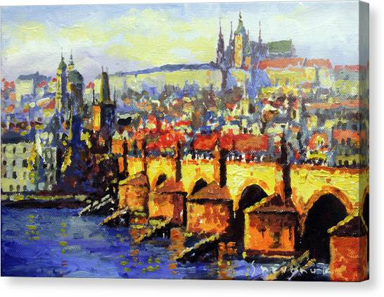 Tower Bridge Canvas Print - Prague Panorama Charles Bridge by Yuriy Shevchuk