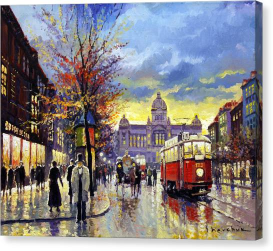 Oil On Canvas Print - Prague Vaclav Square Old Tram Imitation By Cortez by Yuriy Shevchuk