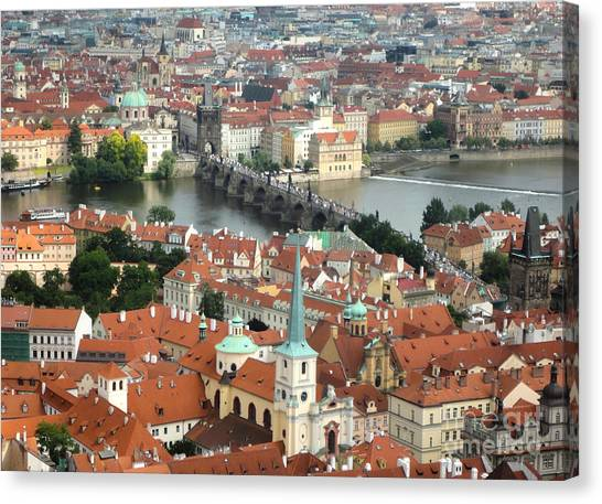 Prague - View From Castle Tower - 03 Canvas Print by Gregory Dyer