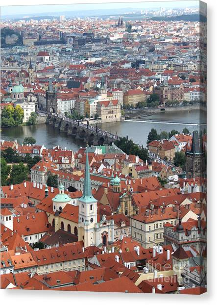 Prague - View From Castle Tower - 10 Canvas Print by Gregory Dyer