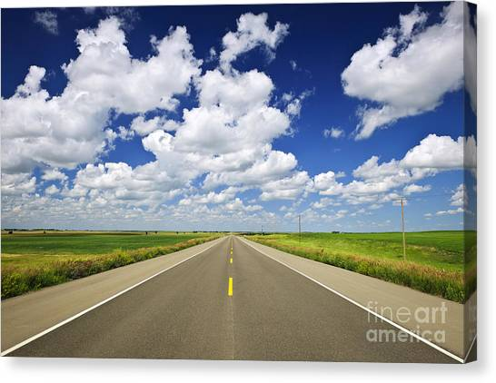 Saskatchewan Canvas Print - Prairie Highway by Elena Elisseeva