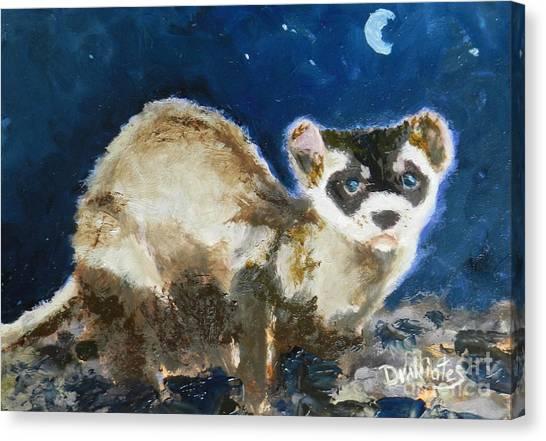Black-footed Ferret Canvas Print - Prairie Night by Alicia Drakiotes