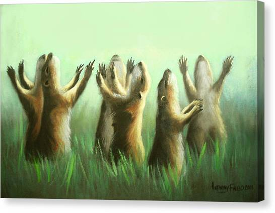 Canvas Print featuring the painting Praising Prairie Dogs by Anthony Falbo