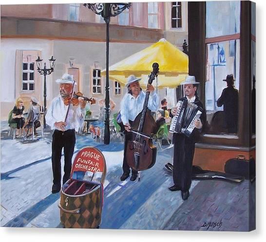 Praque Street Musicians Canvas Print by Donna Munsch
