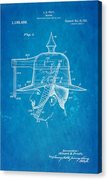 Nra Canvas Print - Pratt Weapon Hat Patent Art 1916 Blueprint by Ian Monk