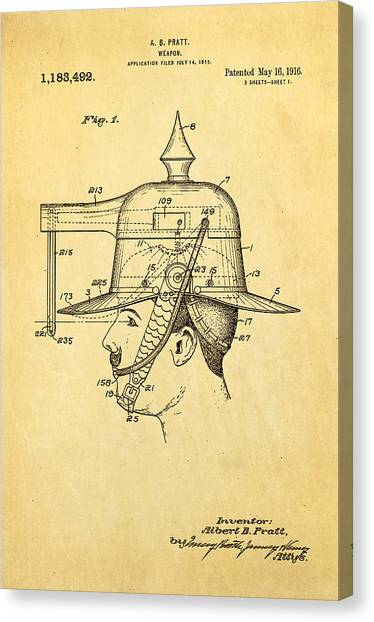 Nra Canvas Print - Pratt Weapon Hat Patent Art 1916 by Ian Monk