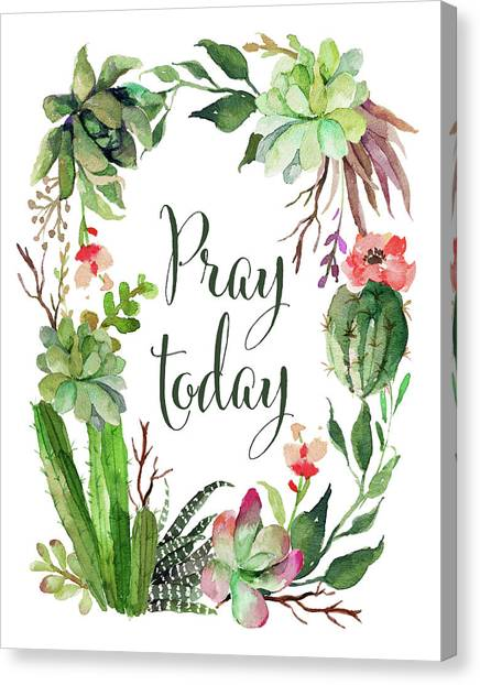 Succulent Canvas Print - Pray Today Wreath by Tara Moss