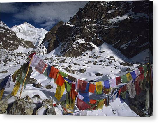 Kangchenjunga Canvas Print - Prayer Flags Himalaya India by Colin Monteath