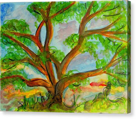 Prayer Mountain Tree Canvas Print
