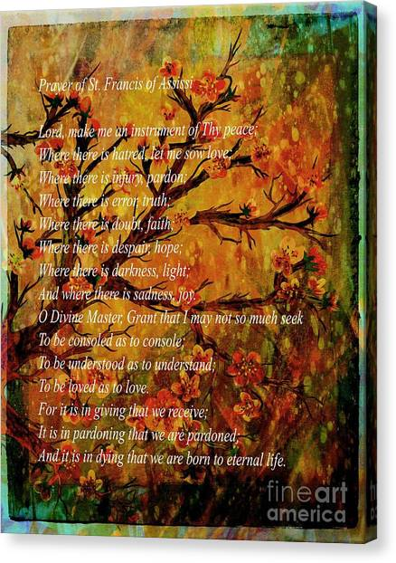Prayer Of St. Francis Of Assisi  And Cherry Blossoms Canvas Print