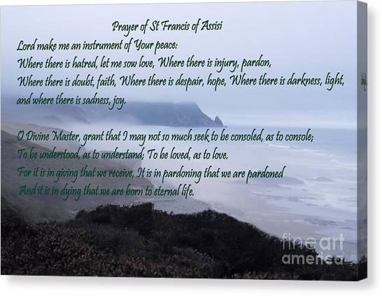 Mission Canvas Print - Prayer Of St Francis Of Assisi by Sharon Elliott