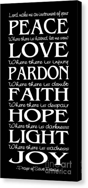 Prayer Of St Francis - Subway Style - Reversed Type Canvas Print