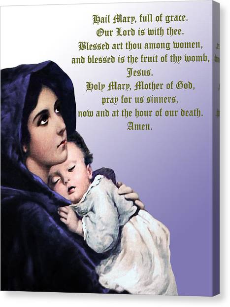 Prayer To Virgin Mary 3 Canvas Print