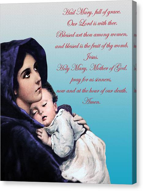 Prayer To Virgin Mary Canvas Print