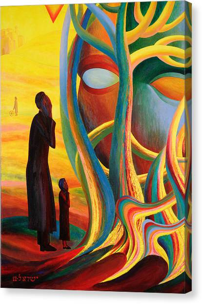 American Jewish Artists Canvas Print - Prayers At The Tree Of Life by Israel Tsvaygenbaum