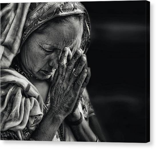 Lady Canvas Print - Prayers by Piet Flour