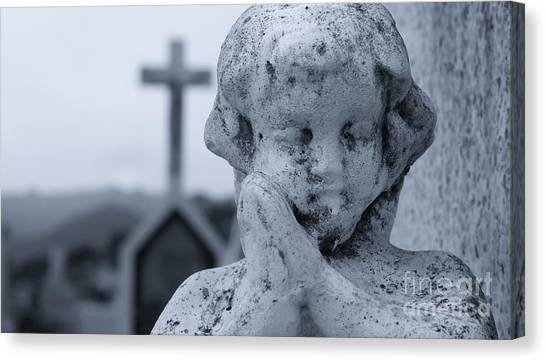 Old Christ Church Canvas Print - Praying Angel by Aged Pixel