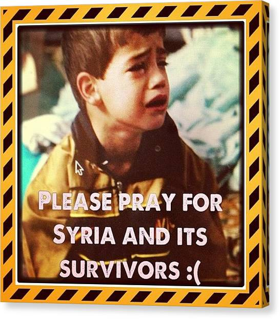 Syrian Canvas Print - Praying God Will Comfort The Survivors by Vincy S