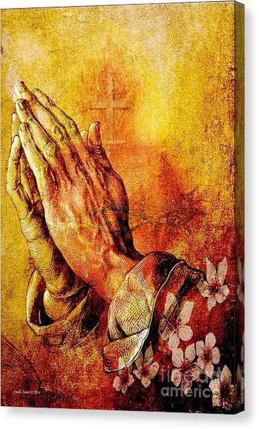 Praying Hands With Sacred Heart Canvas Print