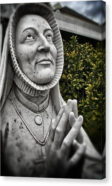 Praying Nun Statue Canvas Print