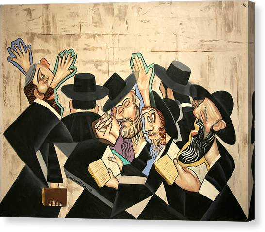 Canvas Print featuring the painting Praying Rabbis by Anthony Falbo