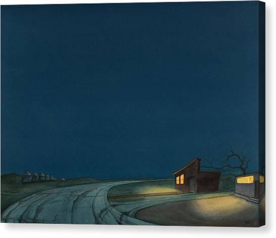 Canvas Print featuring the painting Pre-dawn On The Hi-line I by Scott Kirby