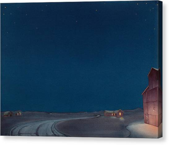 Canvas Print featuring the painting Pre-dawn On The Hi Line II by Scott Kirby