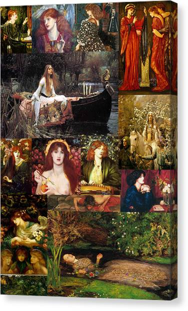 Pre-modern Art Canvas Print - Pre Raphaelite Collage by Philip Ralley