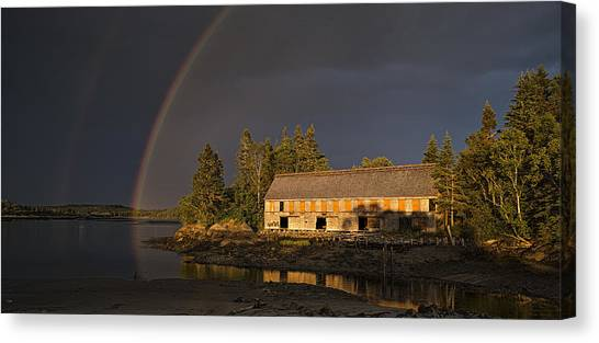 Smokehouses Canvas Print - Pre Storm Squall At Smokehouse by Marty Saccone