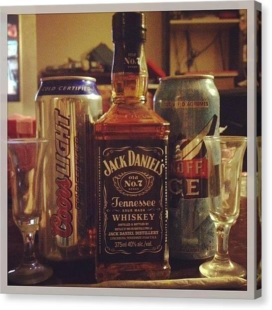 Whiskey Canvas Print - Pre-valentine's Day Drink And Smoke by Katrina A