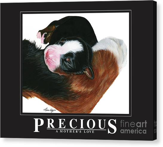 Bernese Mountain Dogs Canvas Print - Precious - A Mother's Love by Liane Weyers