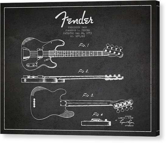 Fender Guitars Canvas Print - Precision Bass Patent Drawing From 1953 by Aged Pixel