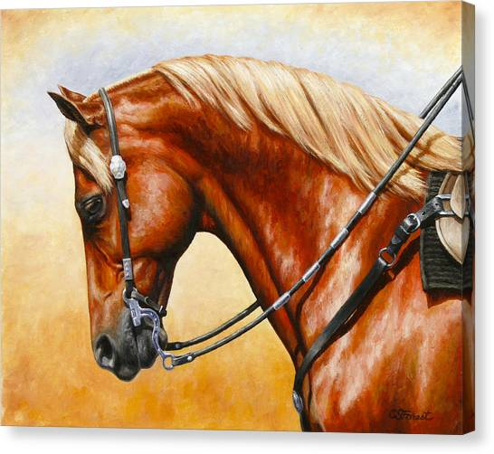 Sorrel Canvas Print - Precision - Horse Painting by Crista Forest