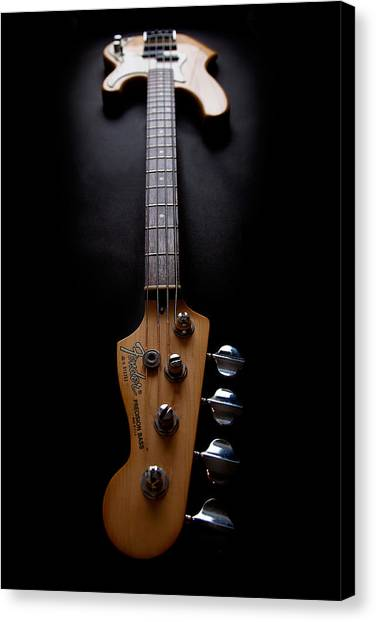 Bass Guitars Canvas Print - Precision Perspective by Peter Tellone