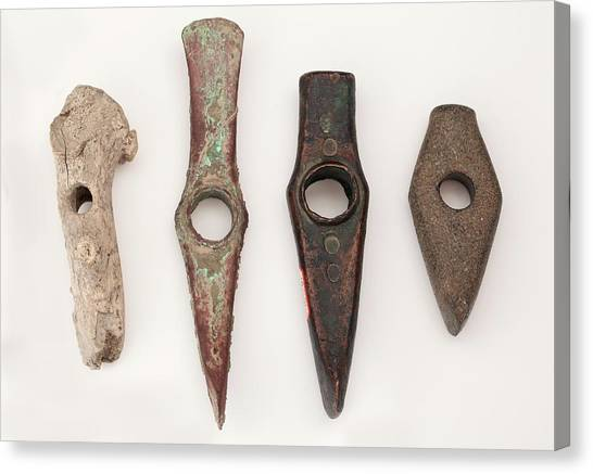 Axes Canvas Print - Prehistoric Axes Of Different Materials by Paul D Stewart