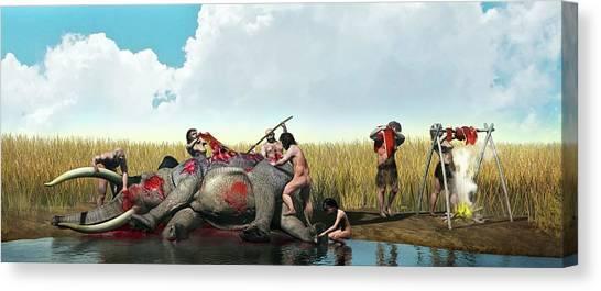 Carcass Canvas Print - Prehistoric Hunting by Jose Antonio Pe�as