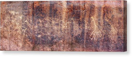 Sahara Desert Canvas Print - Prehistoric Petroglyphs by David Parker/science Photo Library