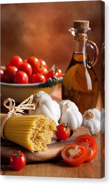 Spaghetti Canvas Print - Preparation Of Italian Spaghetti Pasta by Amanda Elwell