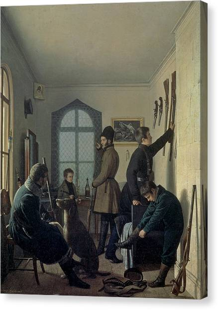 Shotguns Canvas Print - Preparations For Hunting, 1836 by Jevgraf Fiodorovitch Krendovsky