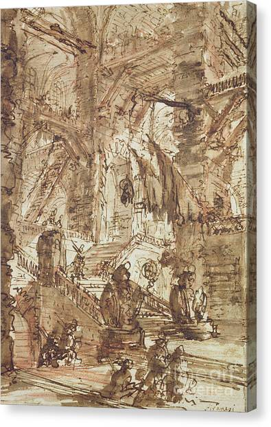 Dungeons Canvas Print - Preparatory Drawing For Plate Number Viii Of The Carceri Al'invenzione Series by Giovanni Battista Piranesi