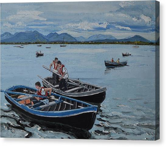 Preparing For The Currach Race Roundstone Ireland Canvas Print