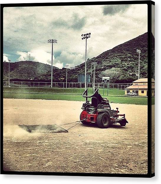 Softball Canvas Print - Preparing The Field For Girl's by Sanz Lashley