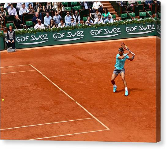 Rafael Nadal Canvas Print - Rafa Nadal Forehand Backswing by Lexi Heft