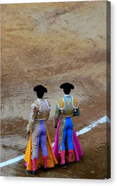 Presence Of The Bullfighters Canvas Print by Laura Jimenez