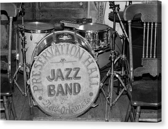 Preservation Hall Jazz Band Drum Bw Canvas Print