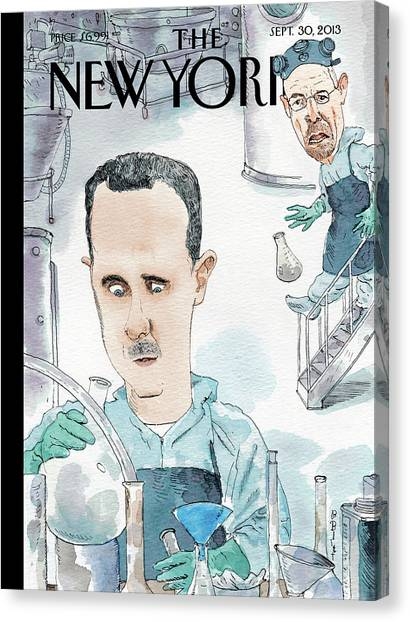 2013 Canvas Print - President Assad Cooks Up A Chemical Cocktail by Barry Blitt
