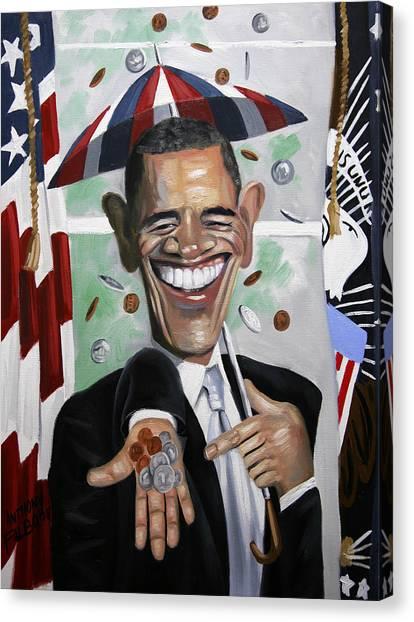 President Obama Canvas Print - President Barock Obama Change by Anthony Falbo