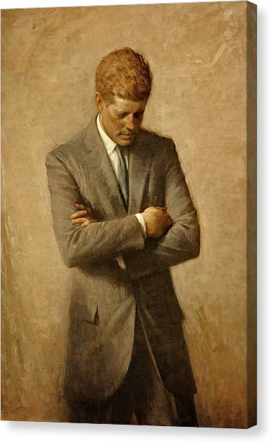 John F. Kennedy Canvas Print - President John F. Kennedy Official Portrait By Aaron Shikler by Movie Poster Prints