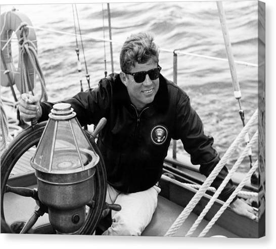 President Canvas Print - President John Kennedy Sailing by War Is Hell Store