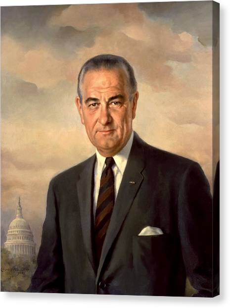 Democratic Presidents Canvas Print - President Lyndon Johnson Painting by War Is Hell Store